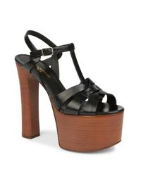 Saint Laurent | Black Betty Leather Platform Sandals | Lyst