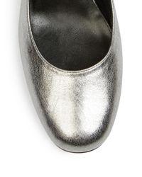 Saint Laurent - Babies Metallic Leather Ankle-strap Pumps - Lyst