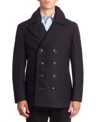 Burberry | Blue Kirkham Virgin Wool & Cashmere Peacoat for Men | Lyst