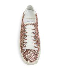 Saint Laurent - Multicolor Court Classic Glitter Flatform Sneakers - Lyst