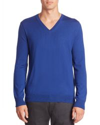 Burberry | Blue Dockley Check-elbow Wool V-neck Sweater for Men | Lyst