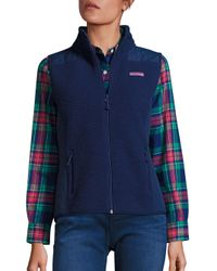 Vineyard Vines | Blue Sea View Sherpa Vest | Lyst