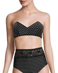 Fleur du Mal   Black Zipper Back Bandeau Bikini Top   Lyst