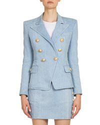 Balmain | Blue Double-breasted Denim Jacket | Lyst