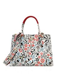 Prada | Blue Floral Calf Leather Double-zip Tote | Lyst