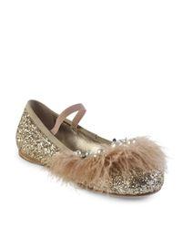 Miu Miu | Metallic Jeweled Feather & Glitter Ballet Flats | Lyst