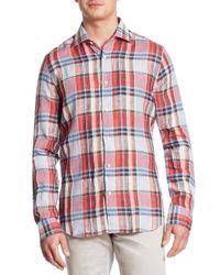 Saks Fifth Avenue | Red Plaid Linen Shirt for Men | Lyst