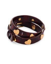 Tory Burch | Multicolor Heart-studded Leather Double-wrap Bracelet | Lyst