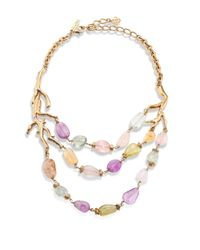 Oscar de la Renta | Metallic Quartz Coral Beaded Necklace | Lyst