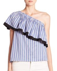 MILLY | Blue Cotton & Silk One-shoulder Striped Top | Lyst