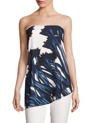 Halston | Blue Floral Printed Strapless Top | Lyst