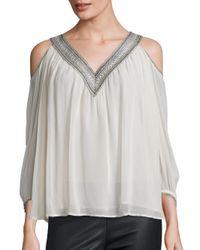 Love Sam | White Lace Trim Cold-shoulder Top | Lyst