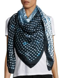 Armani | Blue Dip Dye Soft Dot Silk Scarf | Lyst