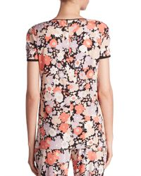 Agnona - Pink Floral Print T-shirt - Lyst