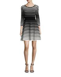 MILLY | Black Degrade Stripe Flare Dress | Lyst