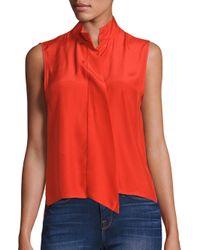 FRAME   Red Silk Cravat Top   Lyst