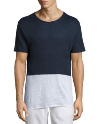 Onia | Blue Chad Colorblock Linen Tee for Men | Lyst