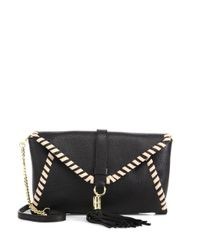 MILLY | Black Astor Whipstitch Leather Clutch | Lyst
