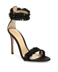 Gianvito Rossi | Black Caribe Frayed Satin Ankle-strap Sandals | Lyst