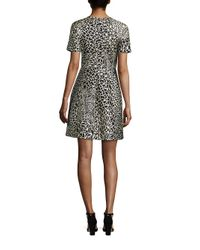 Yigal Azrouël - Black Printed Short Sleeve Dress - Lyst