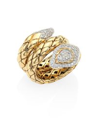 John Hardy | Metallic Legends Cobra Diamond & 18k Yellow Gold Ring | Lyst