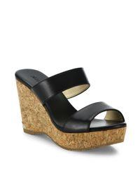 Jimmy Choo | Black Parker Leather & Cork Wedge Sandals | Lyst