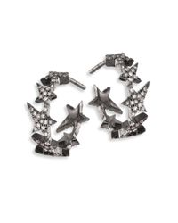 Diane Kordas | Metallic Star Diamond Line 18k Black Gold Hoop Earrings/0.5 | Lyst