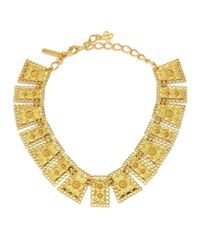 Oscar de la Renta   Metallic Scalloped Edge Necklace   Lyst