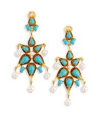 Oscar de la Renta | Blue Cabochon & Faux Pearl Clip-on Earrings | Lyst