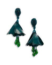 Oscar de la Renta | Green Small Impatiens Flower Clip-on Earrings | Lyst