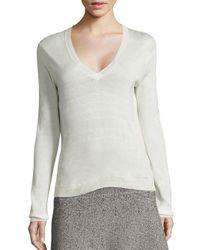 Theory | White Yulia V Silk-blend Sweater | Lyst