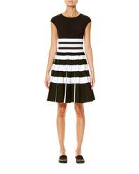 Carolina Herrera - Black Striped Cap-sleeve Pleated Dress - Lyst