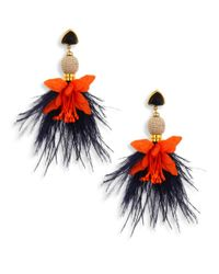 Lizzie Fortunato | Multicolor Garden Party Onyx & Ostrich Feather Drop Earrings | Lyst