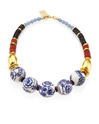 Lizzie Fortunato | The New Blue Iii Porcelain, Angelite & Agate Beaded Necklace | Lyst