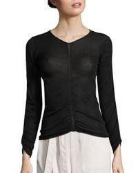 Helmut Lang | Black Shirred V-neck Sweater | Lyst