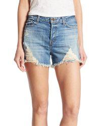 J Brand   Blue Gracie High-rise Distressed Denim Shorts/breakdown   Lyst