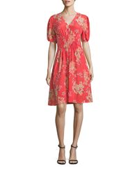 Rebecca Taylor | Red Phlox Floral Print Silk Dress | Lyst