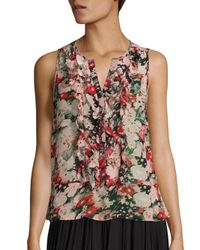 Joie | Multicolor Effa Floral Print Silk Ruffle Blouse | Lyst