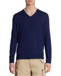 Polo Ralph Lauren | Blue Extra-fine Merino Wool, Silk & Cashmere V-neck Sweater for Men | Lyst
