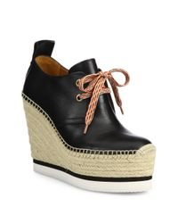 See By Chloé | Black Glyn Leather Lace-up Espadrille Wedge Booties | Lyst