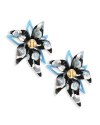 Alexis Bittar   Blue Lucite Abstract Poppy-print Flower Stud Earrings   Lyst