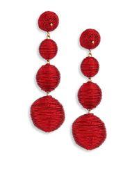 Kenneth Jay Lane | Three Thread Ball Drop Earrings/red | Lyst