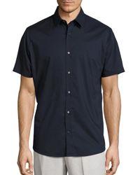 Vince - Blue Reverse Placket Cotton Shirt for Men - Lyst
