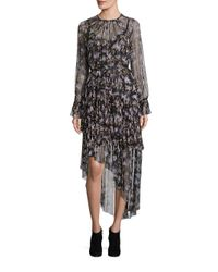 Zimmermann | Black Stranded Tier Long Silk Dress | Lyst