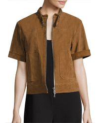 Theory | Brown Lavzinie Suede Jacket | Lyst
