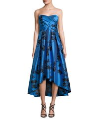 Shoshanna | Blue Strapless Floral Printed Dress | Lyst