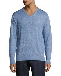 Peter Millar | Blue Crown Wool & Linen Heathered Pullover for Men | Lyst