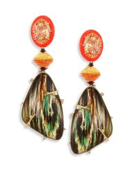 Alexis Bittar | Multicolor Lucite Large Crystal & Woodgrain Clip-on Earrings | Lyst