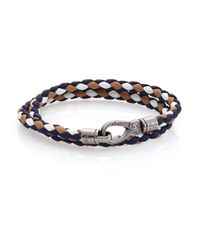 Tod's | Blue Tri-tone Leather Double-wrap Bracelet | Lyst