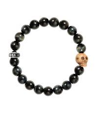 King Baby Studio | Black Tiger Eye Sterling Silver Skull Beaded Bracelet | Lyst